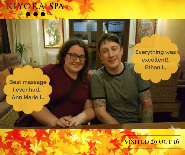 Ann-Marie and Ethan visited Kiyora on 29 October 2016.    Learn more on what our other guests had to say about their Kiyora Spa experience:  www.kiyoraspa.com/reviews/ . . . . . . . . . . . . . . . #luxuryspa #dayspa #thailand #chiangmai #serviceexcellence #kiyoraspa #relaxation #massage #wellness #treatments #therapeutic #wellbeing #thailandonly #amazingthailand #explorethailand #bodywrap #aromatherapy #herbalcompress #deeptissue #bodyscrub #spatreatments #spa