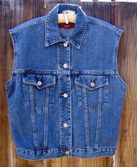Sleeveless Denim Jacket Cowgirl Blue Jean Vest by truevintagestyle, $39.00