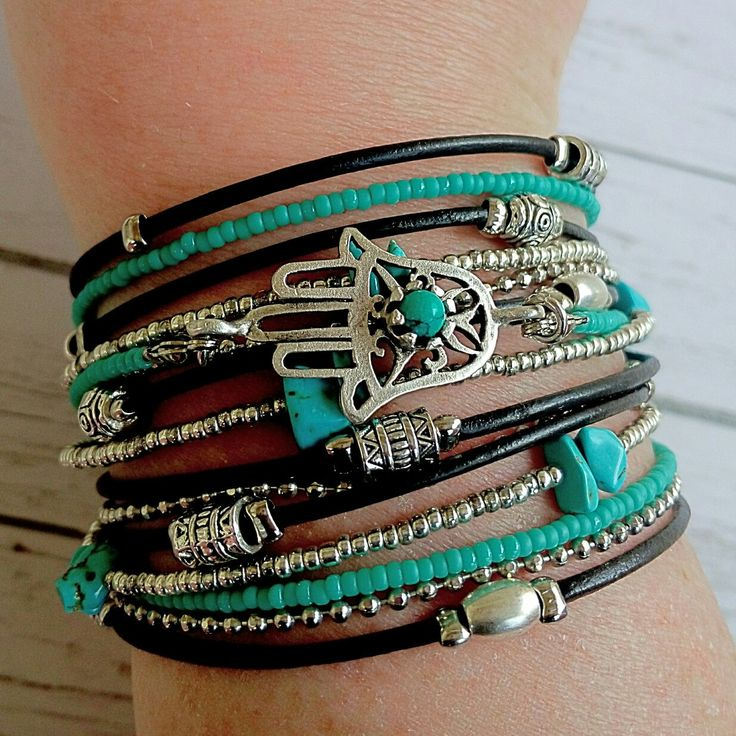 New hamsa wrap bracelet with genuine leather and turquoise beads. Made to measure.