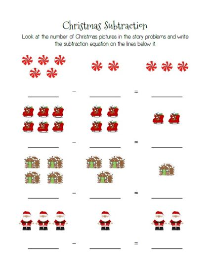 christmas themed subtraction practice worksheets preschool christmas activities for toddlers. Black Bedroom Furniture Sets. Home Design Ideas