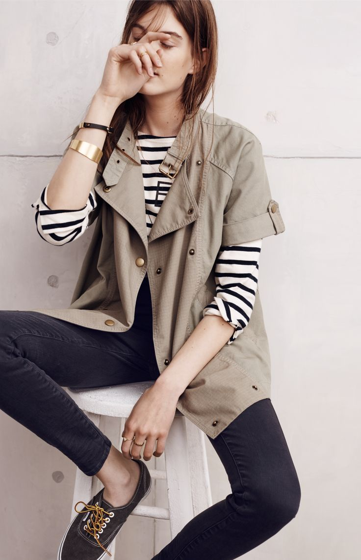 Madewell sahara jacket worn with Armor-Lux® striped tee + high riser skinny skinny jean.