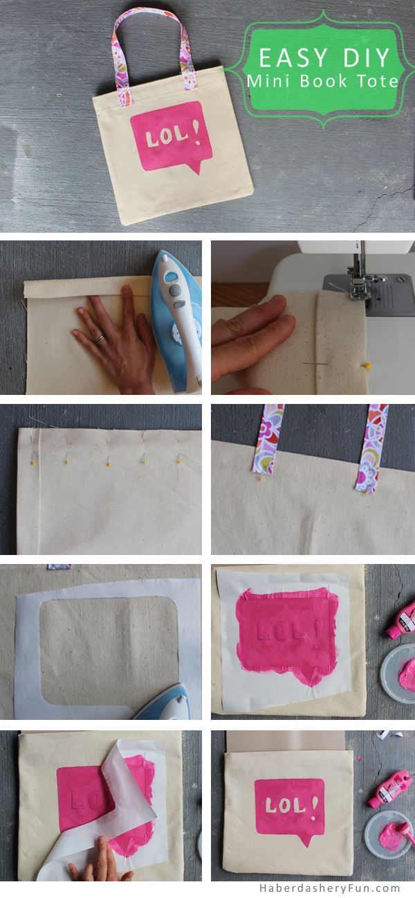 DIY.. Mini Book Tote and Journal Cover. Full tutorial on the HaberdasheryFun blog