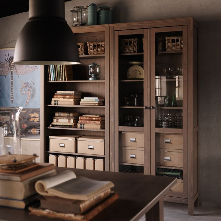 HEMNES grey-brown bookcase and glass-door cabinet 320.00 CABINET + 129.00 BOOKCASE WOW