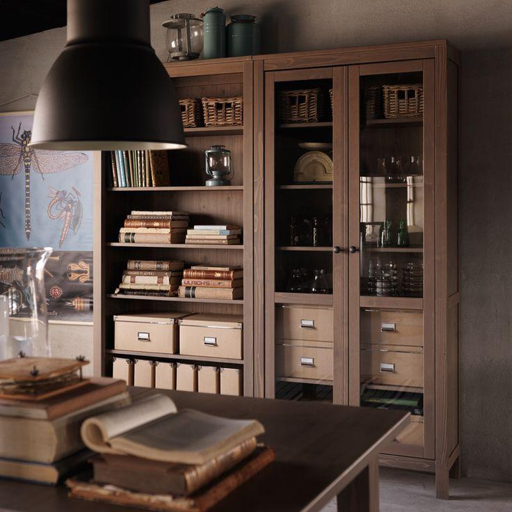 Hemnes Grey Brown Bookcase And Glass Door Cabinet Ikea