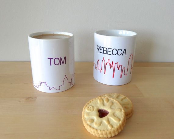 Personalise a couple of our iconic skyline mugs - the perfect housewarming or wedding gift! Just tell us what names youd like in your note to seller.