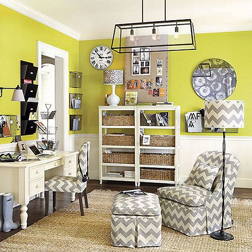 office decor; i love that all the slipcovers are the same neutral print... and that lamp!!
