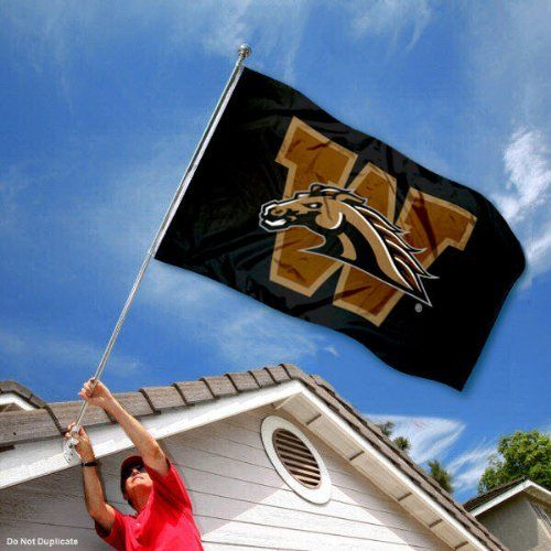 Western Michigan WMU University Large College Flag by College Flags and Banners Co.. $29.95. Our Western Michigan Broncos Flag measures 3x5 feet in size, has quadruple-stitched fly ends, is made of durable polyester, and has two metal grommets for attaching to your flagpole. The screen printed WMU logos are Officially Licensed and Approved by Western Michigan University and are viewable from both sides with the opposite side being a reverse image.. Save 33%!