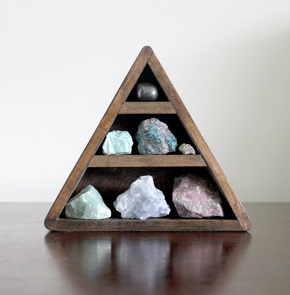 crystal and mineral stone collection in handmade triangle wood curio shelf on Etsy, $85.00