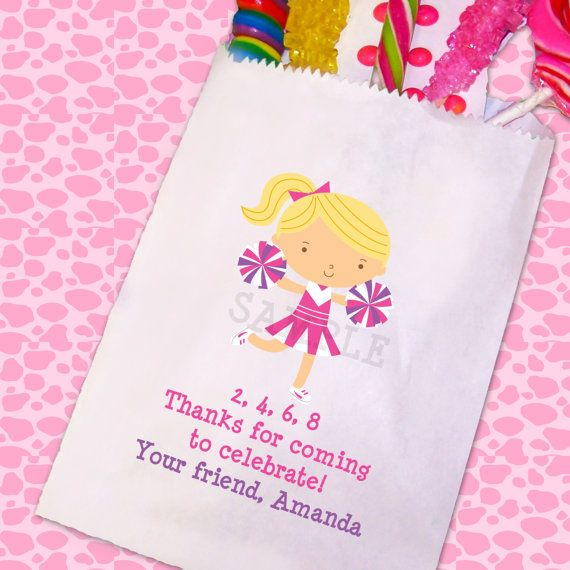 Cheerleading Birthday Party, Cheerleader Candy Bags, Goody Bags, Party Favor Bag, Cookie Bags TheTrendyButterfly,