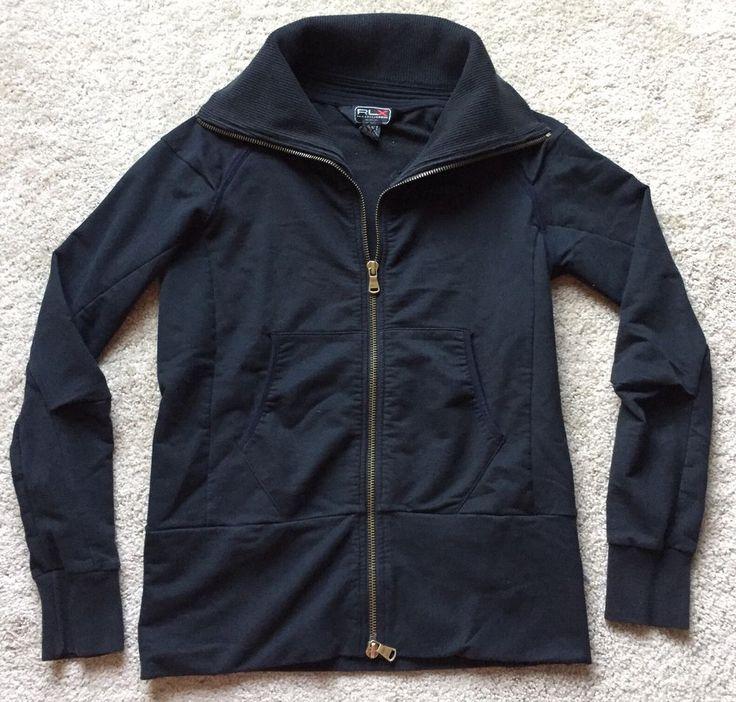 RALPH LAUREN X 'BLACK LABEL' Women's Black Zip Up Sweatshirt Size Medium  | eBay