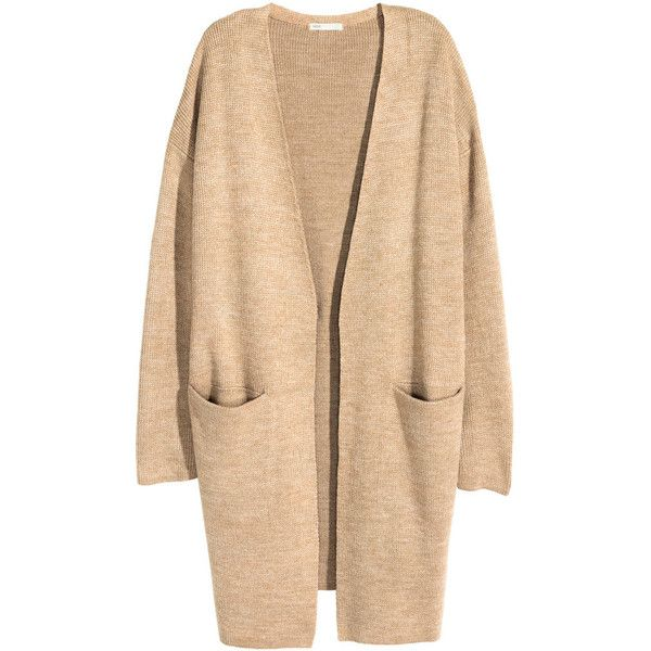 H&M Long cardigan ($38) ❤ liked on Polyvore featuring tops, cardigans, jackets, outerwear, h&m, beige marl, marled cardigan, h&m tops, long cardigan and beige cardigan