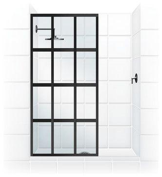 "Coastal Gridscape Series Multi-Pane ""Windowpane"" Shower Doors, 31"" Width X 76"" H transitional-shower-doors"