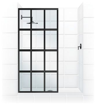 "Coastal Gridscape Series Multi-Pane ""Windowpane"" Shower Doors, 31"" Width X 76"" H transitional-shower-doors"