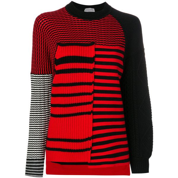 Sonia Rykiel striped jumper ($839) ❤ liked on Polyvore featuring tops, sweaters, red, wool sweaters, red sweater, red jumper, multi stripe sweater and wool jumper