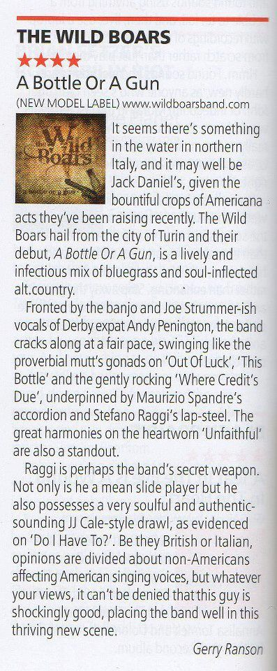 """Review of """"A Bottle or A Gun"""" in UK folk/roots/rock magazine """"R2""""....."""
