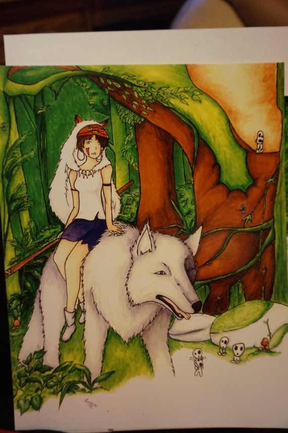 Princess mononoke print copic marker drawing by NyesHandCrafted