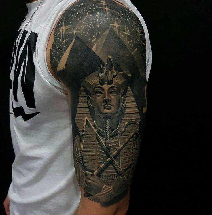 Tutankhamun & Pyramids Half Sleeve http://tattoo-ideas.com/egyptian/