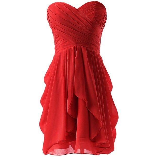 Dressystar Dressystar Chiffon Bridesmaid Dress Short Sweetheart... ($30) ❤ liked on Polyvore featuring dresses, gowns, short dresses, red, vestidos, red chiffon dress, short evening dresses, red evening dresses, short homecoming dresses and bridesmaid gowns