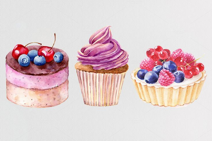Watercolor cakes. Vector set. by Olga Ponomarchuk on Creative Market