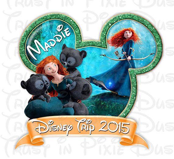 BRICOLAGE Walt Disney World Merida Brave Digital Télécharger Iron imprimable chemise sombre sur le transfert de la chemise de vacances Princes ours Brave Mickey oreilles