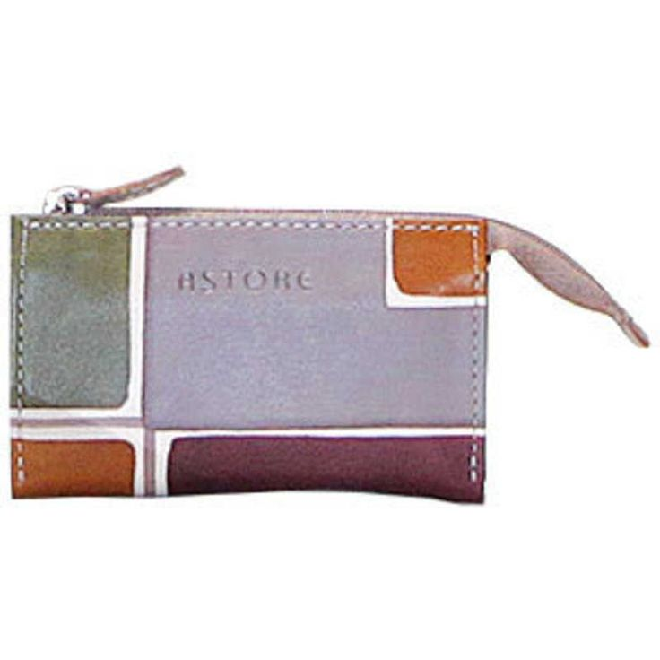 Natural leather key holder, handpainted. Perfect idea for a present or simply match it to your Acquerello handbag and wallet. Colors grey violet ocra and green and geometrical pattern.