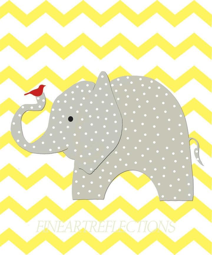 Nursery Art Print, Gray Elephant, Yellow, Chevron Wall Art, Kids Room Decor, 8x10 Childs Wall Art Print. $18.00, via Etsy.
