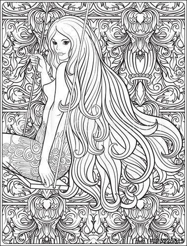 Young Beautiful Girl With Long Hair On Swing In Rose Garden Coloring Page