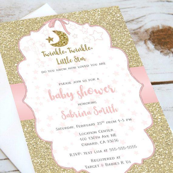 Baby Shower Invitation  Twinkle Twinkle Little Star  Gold