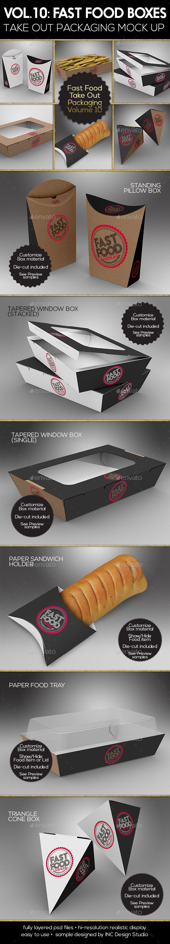 Fast Food Boxes Vol.10:Take Out Packaging Mock Ups — Photoshop PSD #tray #holder • Available here → https://graphicriver.net/item/fast-food-boxes-vol10take-out-packaging-mock-ups/19417898?ref=pxcr