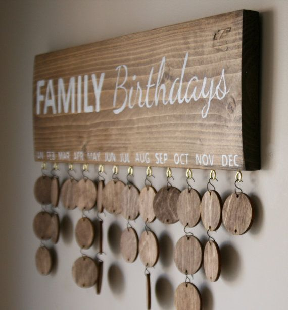Family Birthday Sign Family Calendar Sign by FallenTimberCrafts
