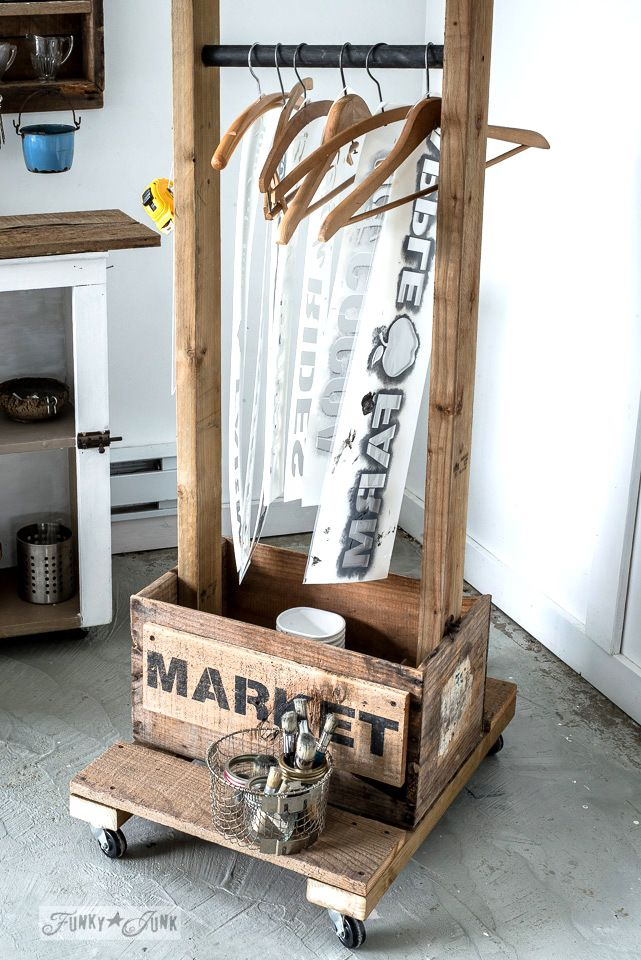 Make this old crate stencil storage trolley idea, displaying Funky Junk's Old Sign Stencils. Crate stores your paint gear. | funkyjunkinteriors.net