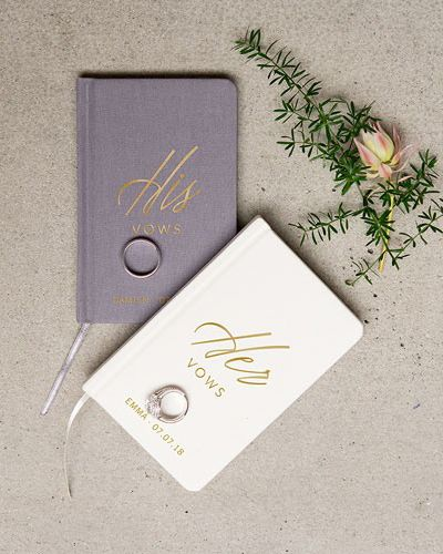 These personalized wedding vow journals are the perfect way to keep your hand written vows in a protected keepsake place. Pretty enough for wedding photos and covered front to back, you'll love looking back at this journal for many years to come!