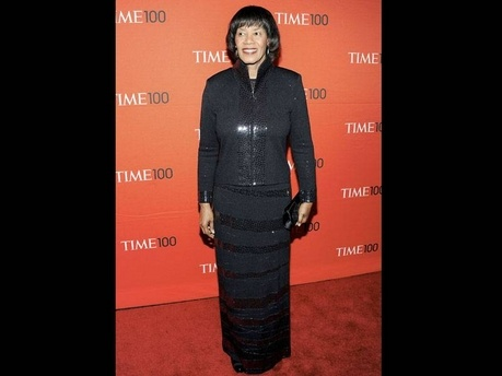 Prime Minister Portia Simpson Miller walks the red carpet at Tuesday night's TIME 100 gala at the Frederick P. Rose Hall in New York, where she was celebrated as one of the 100 most influential people in the world. - AP photo