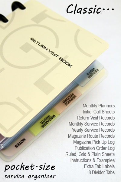 You guys have to get one!! PEGlala Classic Return Visit Book -- A pocket size service organizer for Jehovah's Witnesses. Special Price: $20.97 to $16.78