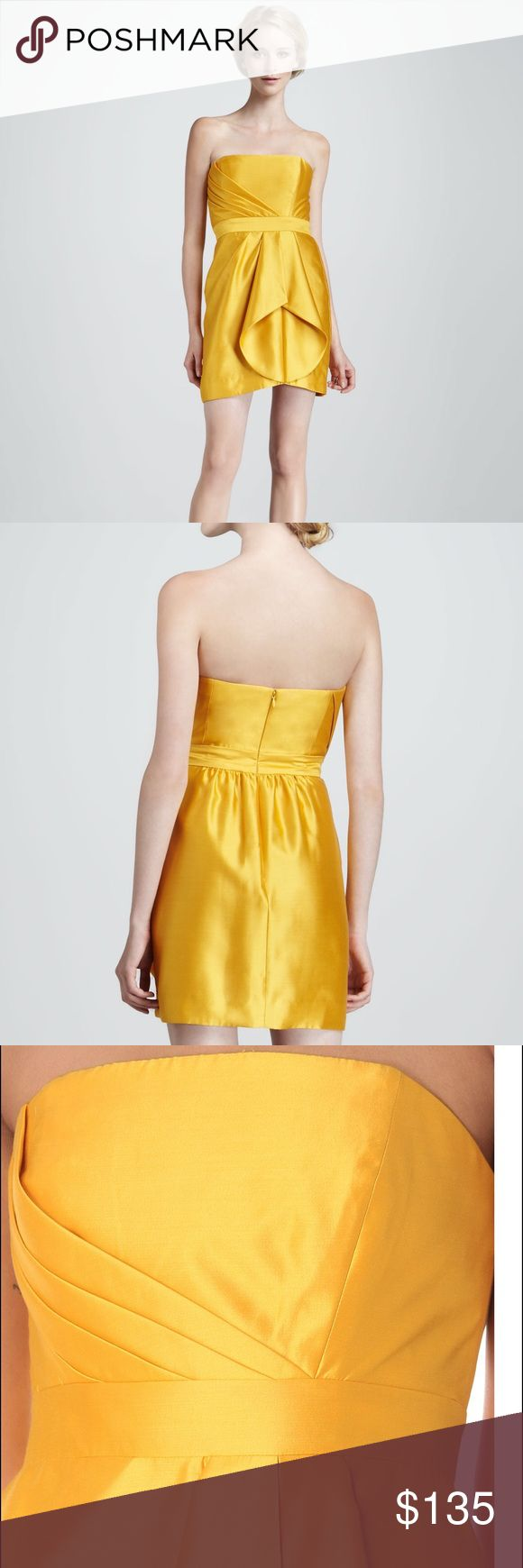 NWT Shoshanna Orly Strapless Dress In Yellow Topaz NWT. Retails for $385.00. Pleats radiate diagonally across the bodice of this strapless silk dress before unfolding into lustrous drapes at one side of the slim pencil skirt. Price listed is 65% off Retail! Shoshanna Dresses Strapless