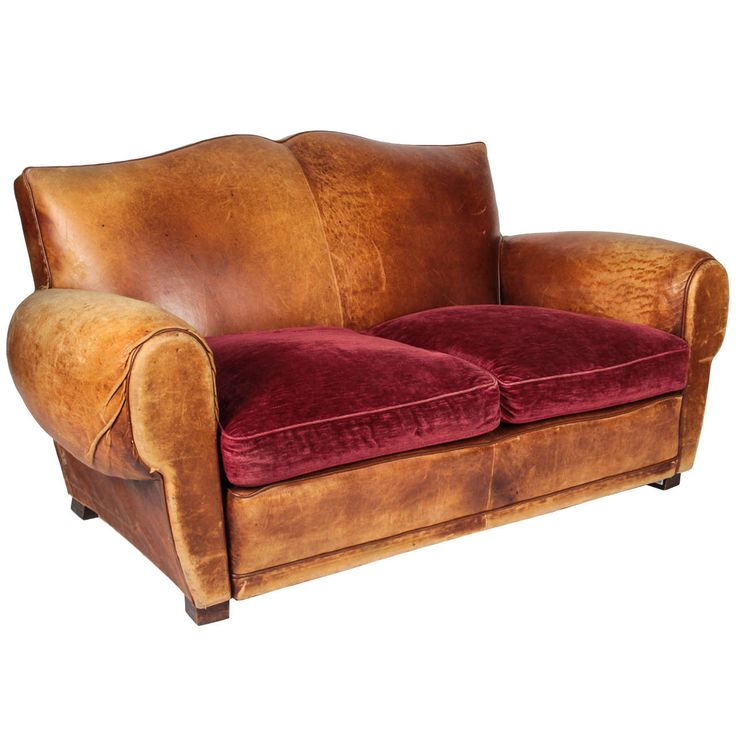 20th c. French Mustache-back Leather and Chenille Loveseat | From a unique collection of antique and modern sofas at https://www.1stdibs.com/furniture/seating/sofas/