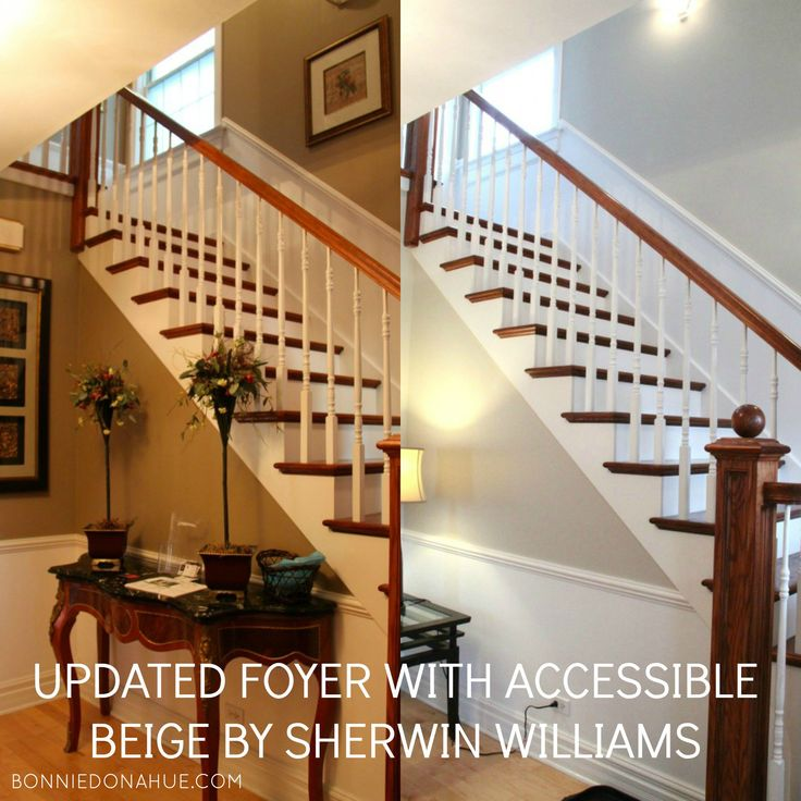 Sherwin Williams Vs Behr Interior Paint: Updated Foyer With Accessible Beige By Sherwin Williams