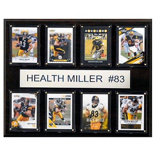 C and I Collectables NFL 15W x 12H in. Heath Miller Pittsburgh Steelers 8 Card Plaque - 1215HMILLER8C