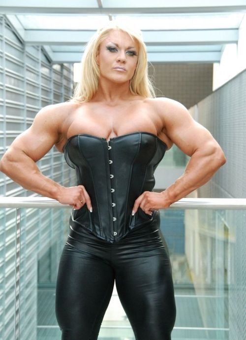 Body builder lisa cross hands on hips leather fashion - Lisa cross fbb ...