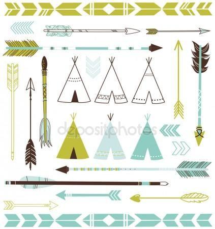 Las flechas y las tiendas de los indios norteamericanos
