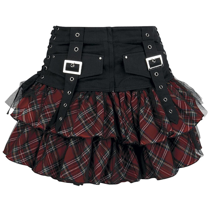 - layered skirt  - red tartan  - black tulle  - elastic waistband  - incl. belt made of 100% cotton  - belt with fake pockets, decoration clasps, lacing and zipper  - L: approx. 36 cm