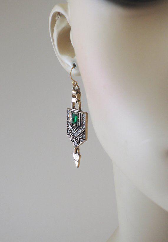Vintage Inspired Earrings Art Deco Earrings Emerald Green   Etsy