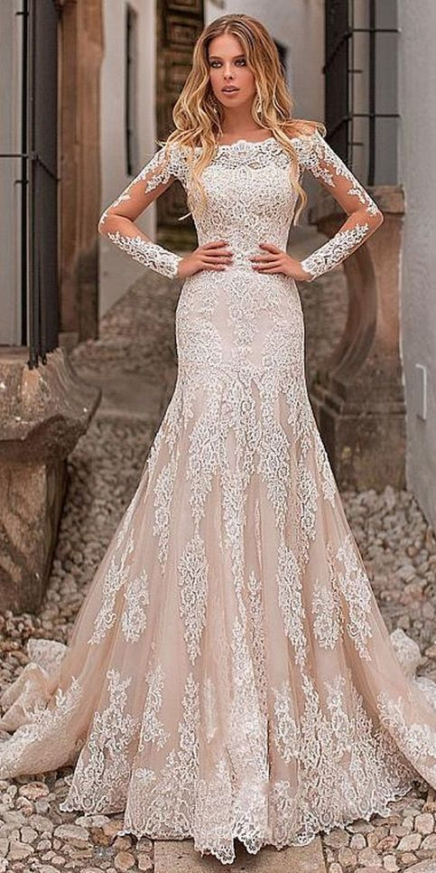 Tulle Off-the-shoulder Neckline Wedding Dress, Bride Dress With Lace Appliques ,Long Sleeve Weeding Dress