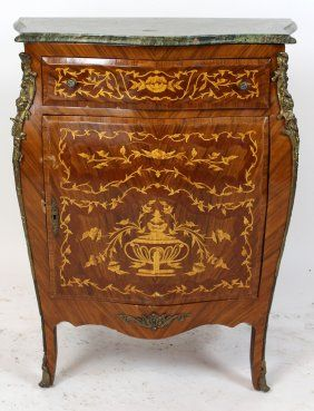 Louis XV Style Marquetry Single Door Cabinet With