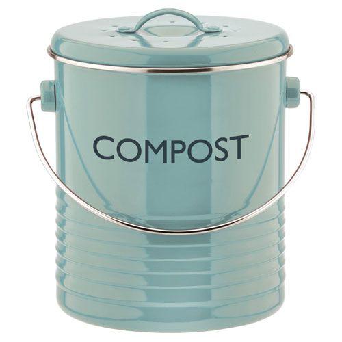 Poubelle compost avec filtre en métal bleu Summer House Typhoon