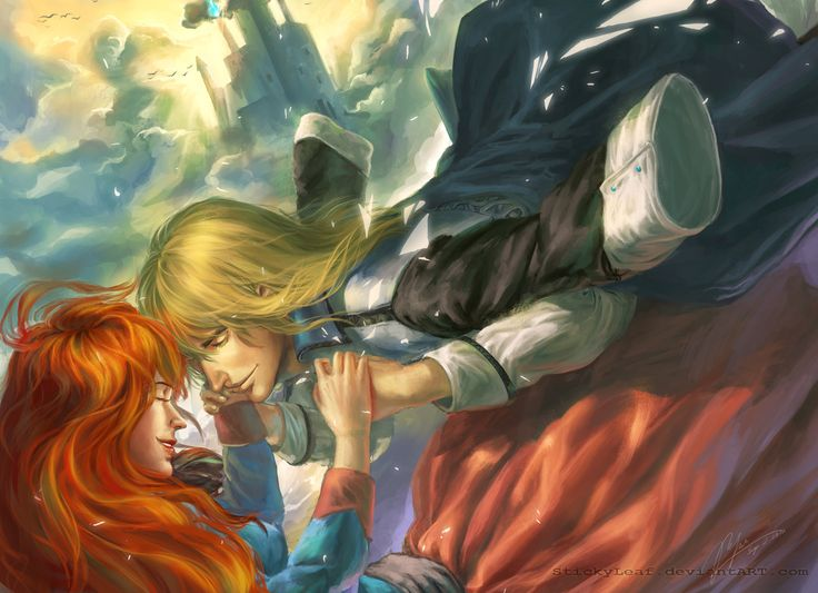 stickyleaf: Yay a painting!! Howl and Sophie from Howl's Moving Castle by Diana Wynne Jones.