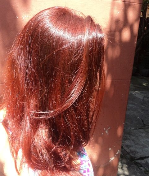 Blog Lumestrela: Pintando os cabelos - Garnier Nutrisse Cor Intensa - cor Vermelho Cobre 6.46