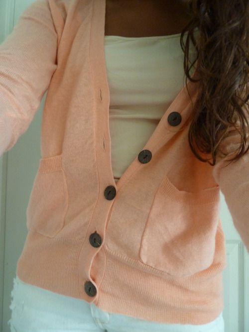 peachy: Pink Sweater, Style, Dream Closet, Clothes, Pink Cardigan, Outfit, Peach Cardigan, Coral Cardigan