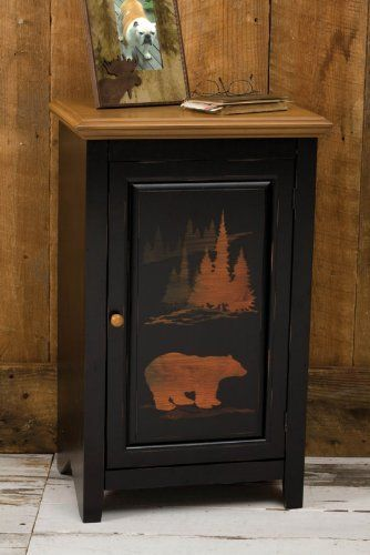 "Furniture,Wilderness One Door Cabinet, Black,Wood,31x19.125x13.5 Inches by Highland Crafts. $169.88. The size is: 31""x19.125""x13.5"". Bear design. Black. Wood. Rustic and enchanting, this cabinet looks made for a mountain lodge with wood paneled walls and bear skin rugs, or maybe it's just perfect for adding a touch of the wild into any modern room. Silhouettes of a graceful bear and regal moose stand out boldly, as if captured in the moment of the setting sun. T..."