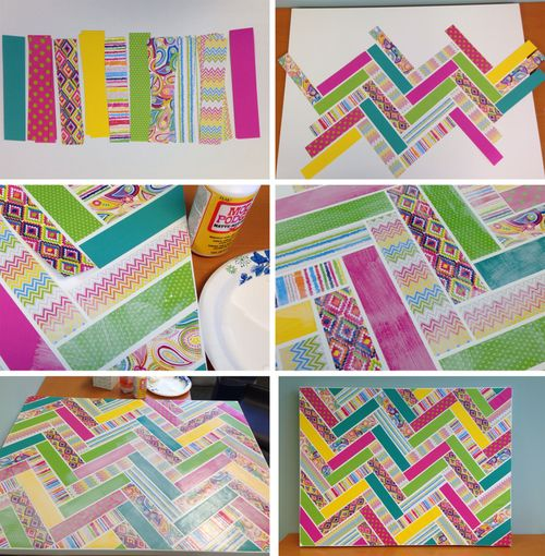 Art: chevron patterned canvas with scrapbook paper & Mod-Podge.  DIY tutorial.